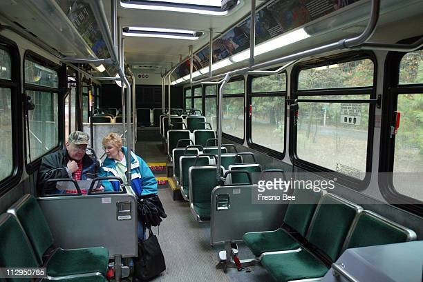 Ray and Darlene Palmer from Minneapolis Minnesota are the only riders on the shuttle bus that runs between the visitor center and Curry Village in...