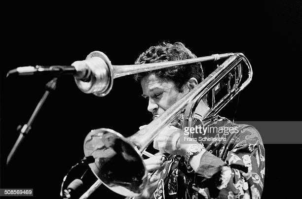 Ray Anderson, trombone, performs at the BIM Huis on 9th March 1995 in Amsterdam, Netherlands.