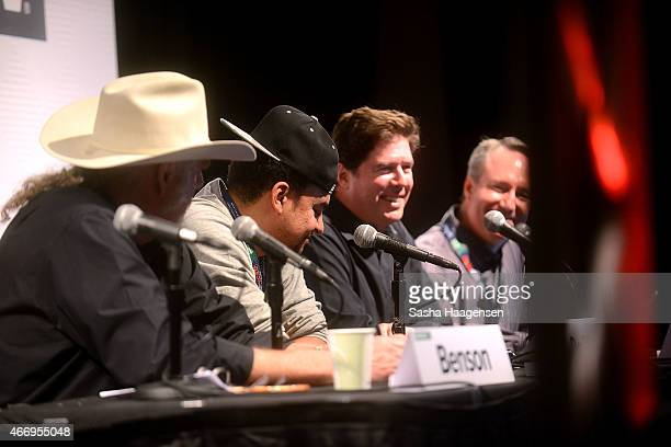 Ray Benson Alex Da Kid John Alagia and Daryl Friedman speak on the Grammy Producers on the Record panel during SXSW at Austin Convention Center on...