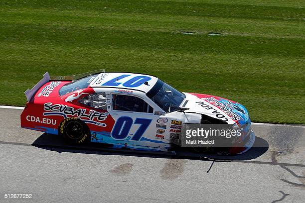 Ray Black Jr driver of the ScubaLife Chevrolet drives on the apron after an on track incident during the NASCAR XFINITY Series Heads Up Georgia 250...