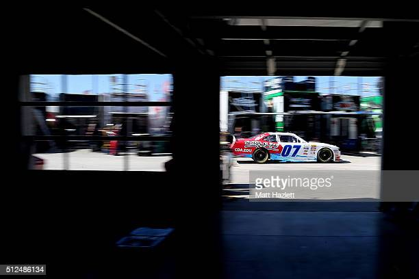 Ray Black Jr driver of the ScubaLife Chevrolet drives through the garage area during practice for the NASCAR XFINITY Series Heads Up Georgia 250 at...