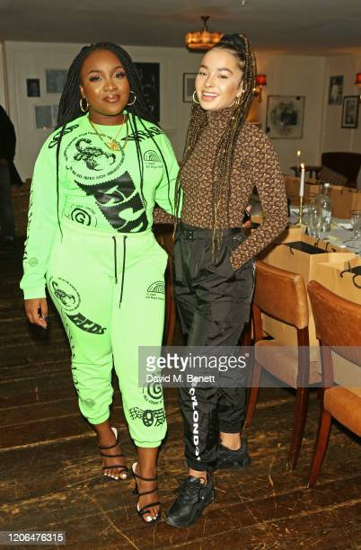 Ray BLK and Ella Eyre attend the #OwnTheTable dinner and panel hosted by Leomie Anderson and Ray BLK at Soho House on March 10 2020 in London England