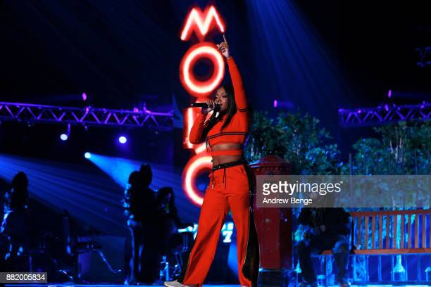 Ray BLK performs on stage at the MOBO Awards at First Direct Arena Leeds on November 29 2017 in Leeds England