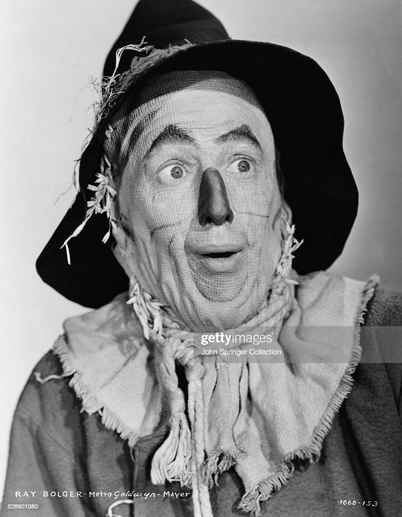 Ray Bolger plays the Scarecrow in the 1939 movie The Wizard of Oz.