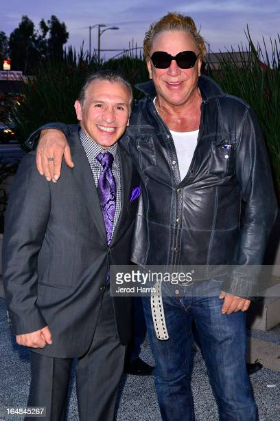Ray 'Boom Boom' Mancini and actor Mickey Rourke arrive at the Los Angeles premiere of 'The Good Son' at Linwood Dunn Theater at the Pickford Center...
