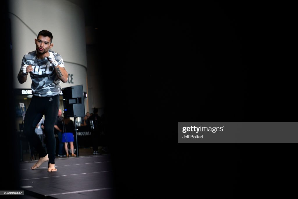 Ray Borg holds an open workout session for fans and media at Rogers Place on September 7, 2017 in Edmonton, Alberta, Canada.