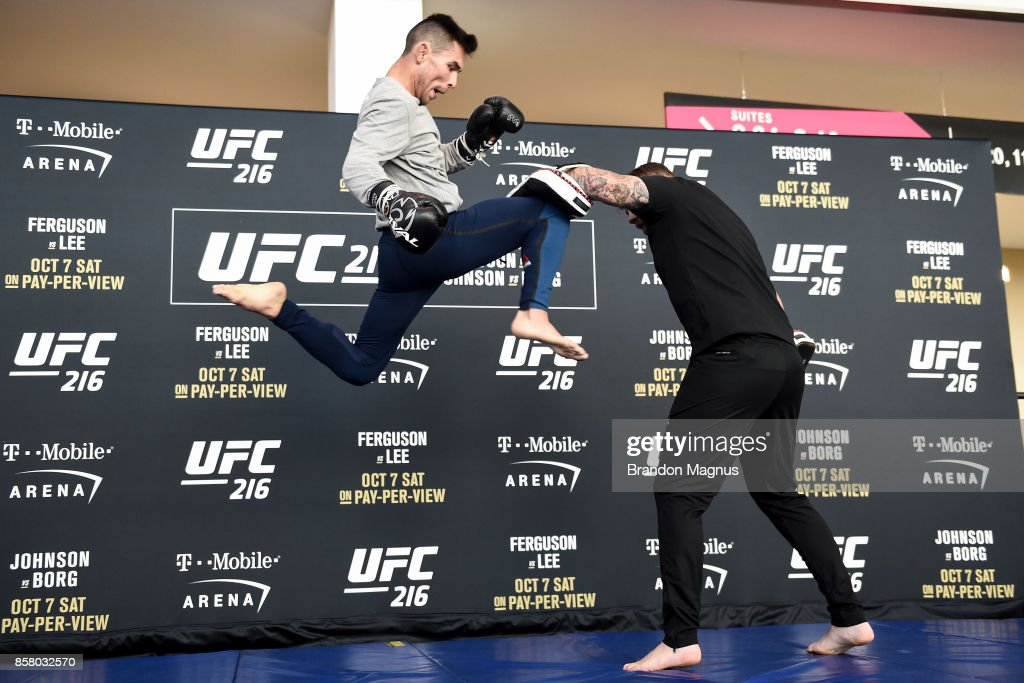 Ray Borg holds an open workout session for the media and fans at TMobile Arena on October 5, 2017 in Las Vegas, Nevada.