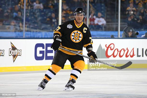 Ray Bourque of the Boston Bruins Alumni Team skates during the Alumni Game as part of the 2016 Bridgestone NHL Classic at Gillette Stadium on...