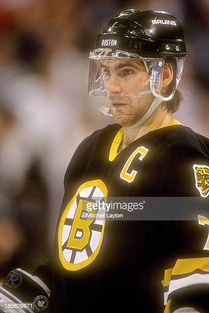 Ray Bourque of the Boston Bruins looks on during a hockey game against the Washington Capitals on November 11 1991 at Capitol Centre in Landover...