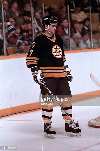 Ray Bourque of the Boston Bruins prepares for the faceoff against the Toronto Maple Leafs on January 9 1985 in Maple Leaf Gardens Toronto Ontario...
