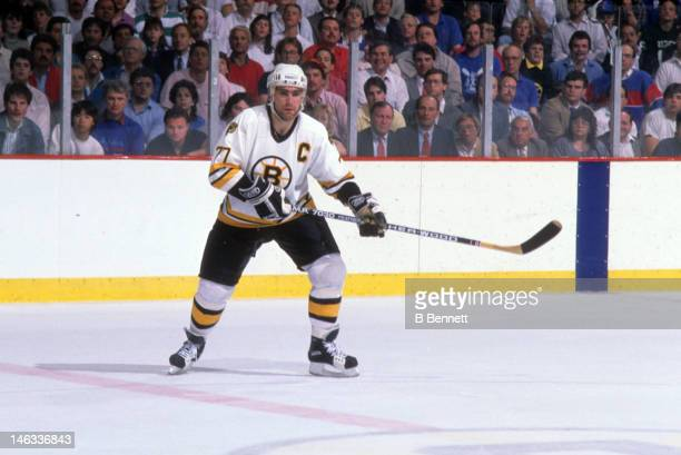 Ray Bourque of the Boston Bruins skates on the ice during an NHL game circa 1988 at the Boston Garden in Boston Massachusetts