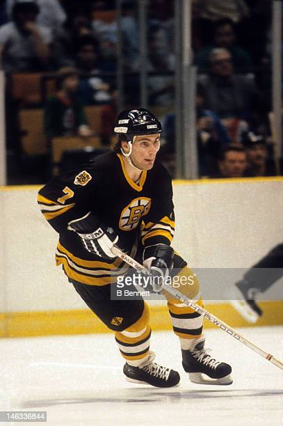 Ray Bourque of the Boston Bruins skates with the puck during an NHL game circa 1984