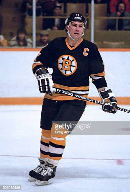Ray Bourque of the Boston Bruins turns up ice during NHL game action against the Toronto Maple Leafs on November 14 1985 at Maple Leaf Gardens in...