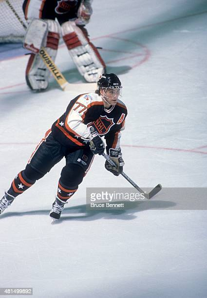 Ray Bourque of the Wales Conference and the Boston Bruins skates on the ice during the 1989 40th NHL AllStar Game against the Campbell Conference on...