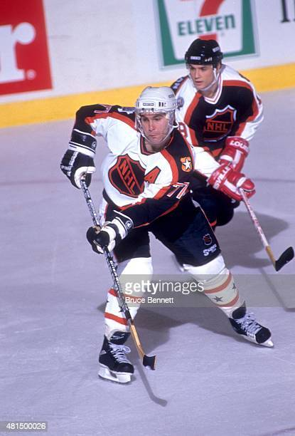 Ray Bourque of the Wales Conference and the Boston Bruins skates on the ice during the 1990 41st NHL AllStar Game against the Campbell Conference on...