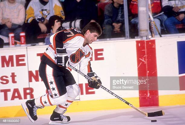 Ray Bourque of the Wales Conference and the Boston Bruins skates on the ice during warmups before the 1990 41st NHL AllStar Game against the Campbell...