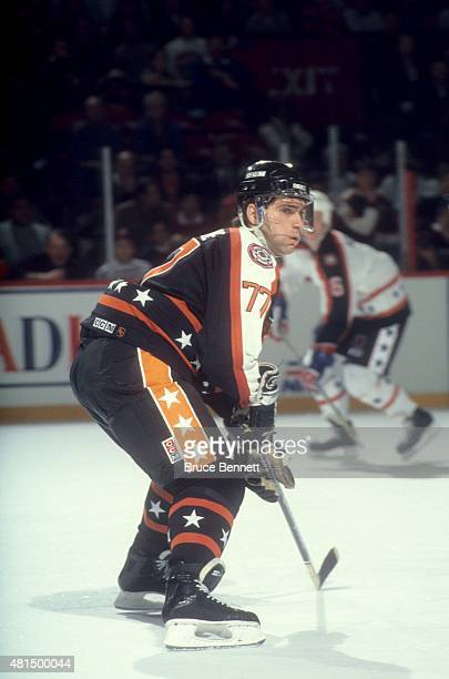 Ray Bourque of the Wales Conference and the Boston Bruins skates on the ice during the 1991 42nd NHL AllStar Game against the Campbell Conference on...