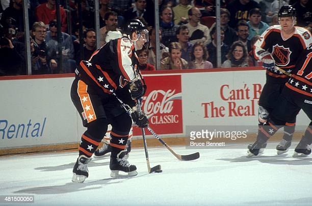 Ray Bourque of the Wales Conference and the Boston Bruins skates with the puck during the 1991 42nd NHL AllStar Game against the Campbell Conference...