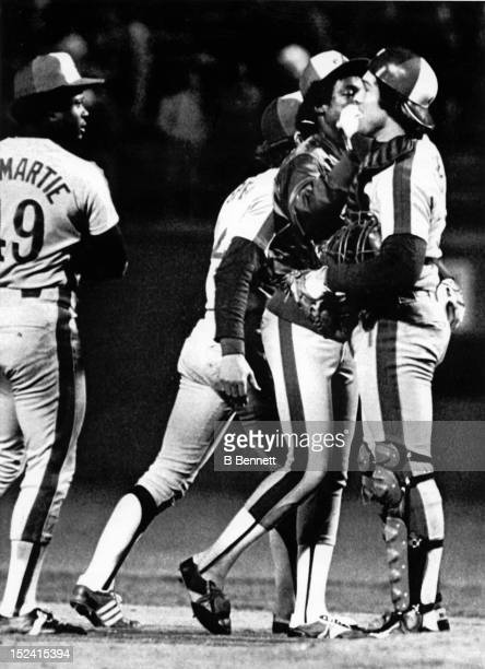 Ray Burris catcher Gary Carter and Warren Cromartie celebrate after defeating the Los Angeles Dodgers in Game 2 of the 1981 National League...