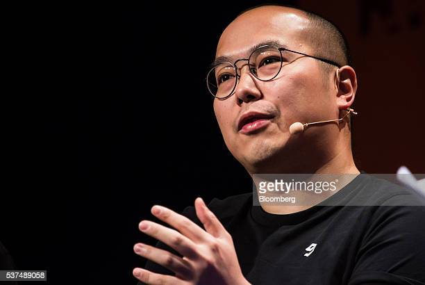 Ray Chan chief executive officer of 9Gag Inc speaks during the Rise conference in Hong Kong China on Thursday June 2 2016 The conference runs through...