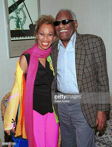Ray Charles and Altovise Davis wife of Sammy Davis Jr backstage at the Westbury Music Fair