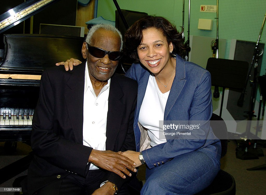 Ray Charles and Angelia Bibbs-Sanders during Music Legend Ray Charles Gets Grammy Presidents's Merit Award at Ray Charles Enterprises in Los Angeles, CA, United States.