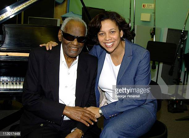 Ray Charles and Angelia BibbsSanders during Music Legend Ray Charles Gets Grammy Presidents's Merit Award at Ray Charles Enterprises in Los Angeles...