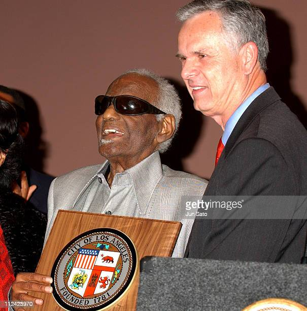 Ray Charles and Los Angeles Mayor James Hahn during Ray Charles to be Named LA's 'Cultural Treasure' at African American Museum in Los Angeles...