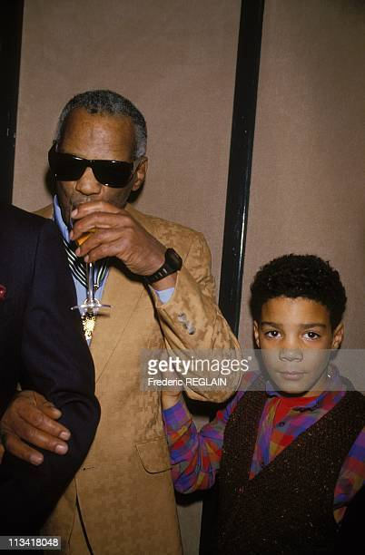 Ray Charles awarded with the medal of Commandeur of the Ordre des Arts et des Lettres by Philippe de Villiers On November 22nd 1986 In ParisFrance