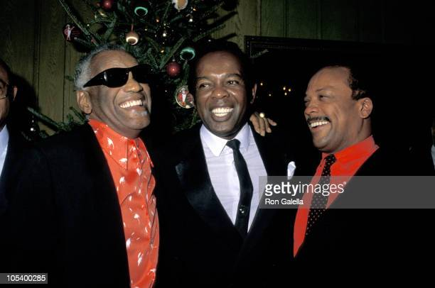 Ray Charles, Lou Rawls, and Quincy Jones during United Negro College Fund Party - December 3, 1987 at Chasen's in Beverly Hills, California, United...
