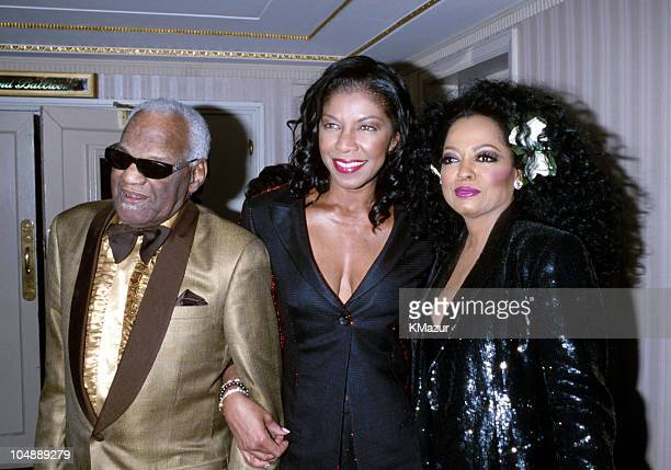 Ray Charles Natalie Cole and Diana Ross during 15th Annual Rock and Roll Hall of Fame Induction Ceremony 2000 at Waldorf=Astoria in New York New York...