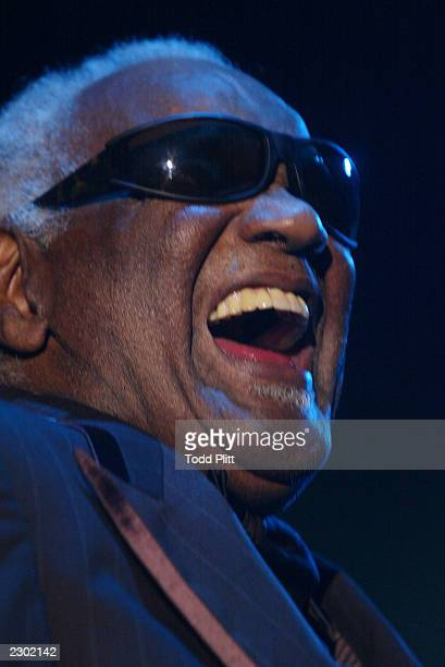 Ray Charles performs during the opening of the new Mohegan Sun resort and casino in Uncasville Connecticut on the Mohegan Reservation June 22 2002