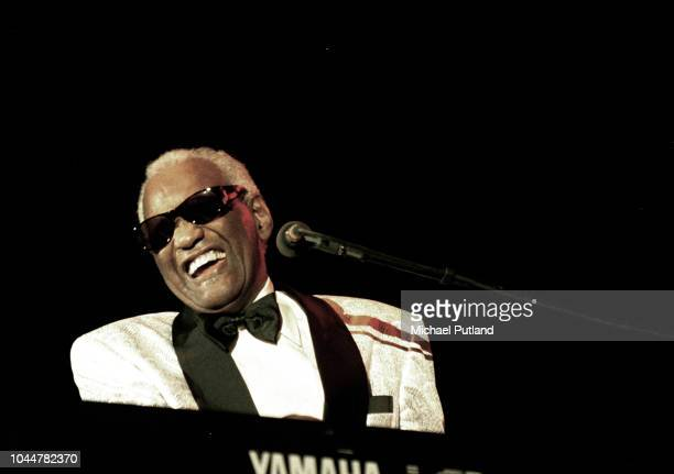 Ray Charles performs on stage, Wembley, London, June 1996.