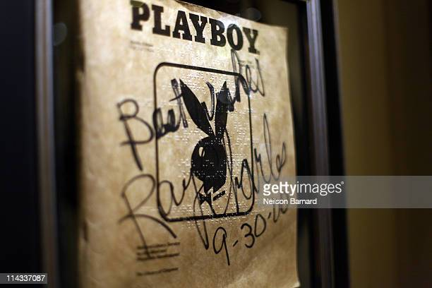 Ray Charles's braille Playboy Magazine is shown on display at Hard Rock Cafe's 40th anniversary Memorabilia Tour at Hard Rock Cafe Times Square on...
