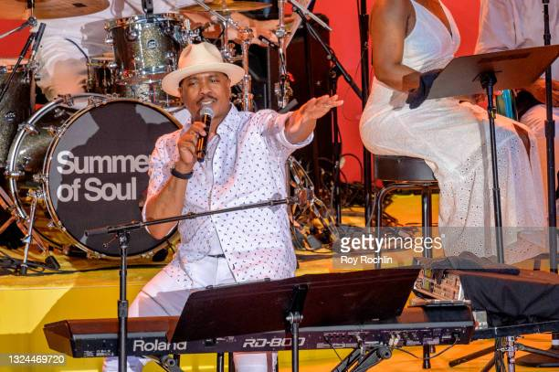 """Ray Chew performs with Gladys Knight during Questlove's """"Summer Of Soul"""" screening & live concert at Marcus Garvey Park in Harlem on June 19, 2021 in..."""