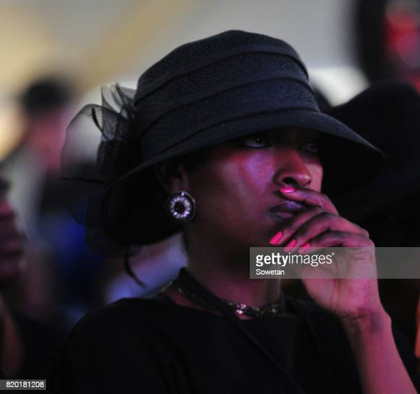 Ray Chikapa Phiris widow Rabelani grieves during a memorial service her late husband at Mbombela Stadium on July 20 2017 in Nelspruit South Africa...