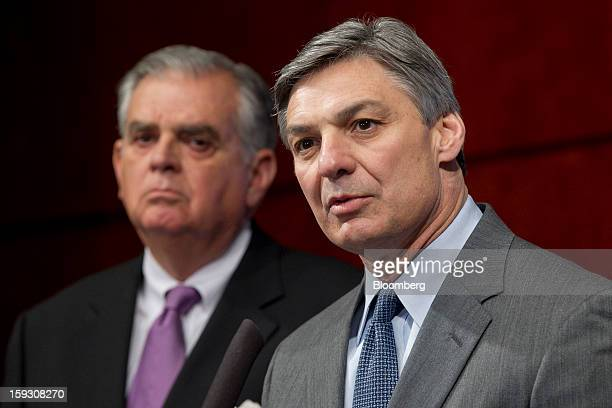 Ray Conner president and chief executive officer of Boeing Commercial Airplanes right speaks during a news conference with Ray LaHood US secretary of...