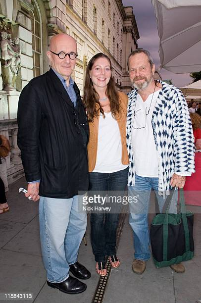 Ray Cooper Amy Gilliam and Terry Gilliam at the FilmFour Summer Screening of Hellboy II at the Somerset House on July 31 2008 in London England