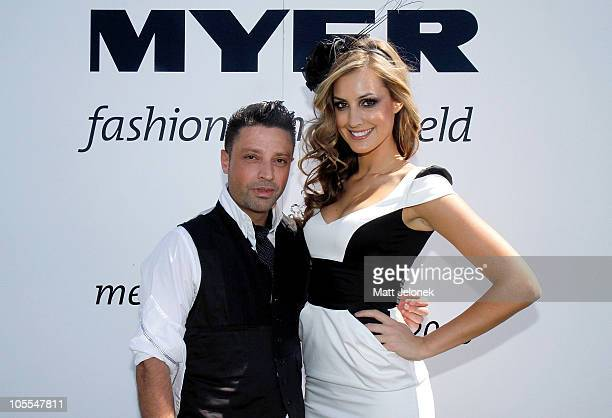 Ray Costarella of Aurelio Costarella poses with Laura Dundovic at the Western Australia state finals of Myer Fashions on the Field at the Ascot...