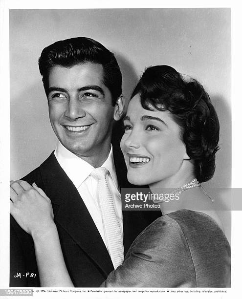 Ray Danton and Julie Adams publicity portrait for the film 'The Looters' 1955