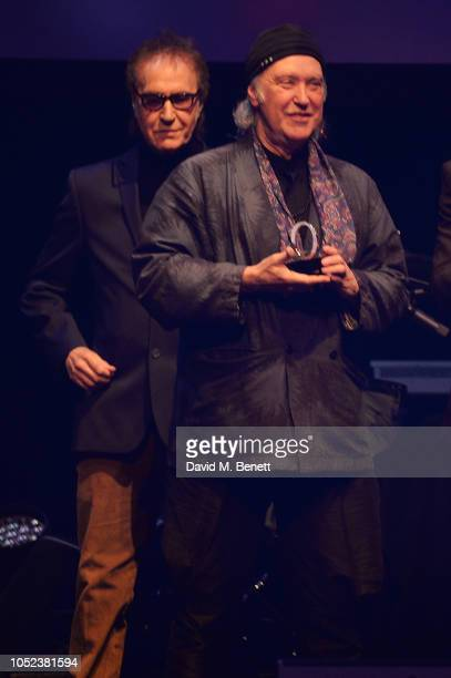 Ray Davies and Dave Davies of The Kinks winners of the Q Classic Album award pose at the Q Awards 2018 at The Roundhouse on October 17 2018 in London...