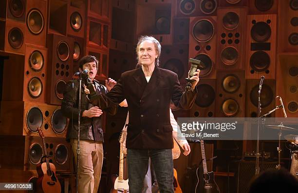 Ray Davies and the cast of 'Sunny Afternoon' celebrate their Olivier Award wins onstage at The Harold Pinter Theatre on April 13 2015 in London...