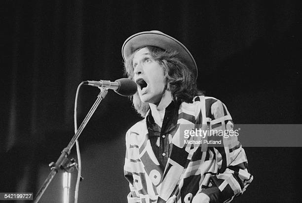 Ray Davies as Norman in a live performance of the Kinks' concept musical 'A Soap Opera' at the New Victoria Theatre London 14th June 1975