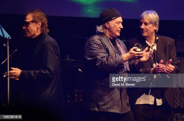 Ray Davies Dave Davies and Mick Avory of The Kinks winners of the Q Classic Album award pose at the Q Awards 2018 at The Roundhouse on October 17...