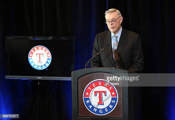Ray Davis coowner of the Texas Rangers announces a 10 year agreement establishing Global Life Park as the new name for Rangers Ballpark in Arlington...