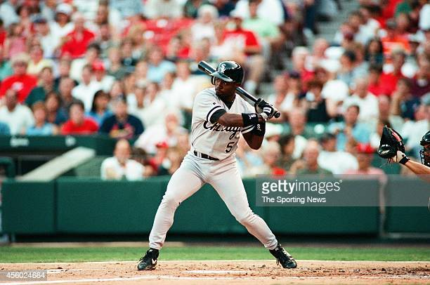 Ray Durham of the Chicago White Sox bats against the St Louis Cardinals at Busch Stadium on July 16 1999 in St Louis Missouri