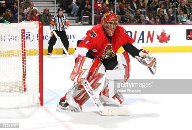 Ray Emery of the Ottawa Senators guards his net in his season debut against the Florida Panthers at Scotiabank Place on October 20 2007 in Ottawa...