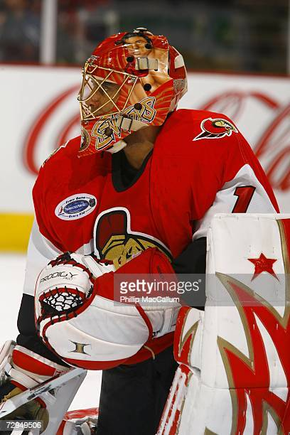 Ray Emery of the Ottawa Senators takes a breather during a TV timeout during a game against the New Jersey Devils on January 6 2007 at the Scotiabank...