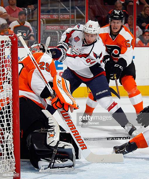 Ray Emery of the Philadelphia Flyers makes the first period save on Jakub Vrana of the Washington Capitals at Wells Fargo Center on September 22 2014...