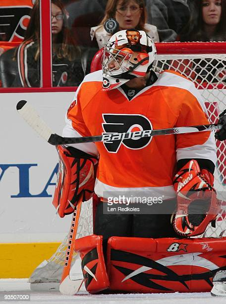 Ray Emery of the Philadelphia Flyers watches a wrist shot goal float over his shoulder by Tim Connolly of the Buffalo Sabres on November 27 2009 at...